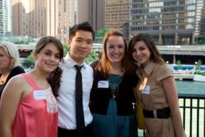 Recent Alumni Dunja Stefanovic, Megan Kay Steker and Amber Hackman  with Board member Paul Wong.