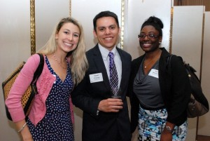 ICPAS Membership Outreach at work: ICPAS's Sarah Herrmann and Taylor Weathers flank IIA scholarship recipient Victor Fresca, one of six IIA awardees.