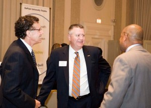 Driehaus Dean Ray Whittington with Past L&Q President Scott Steffens and Tony Fuller