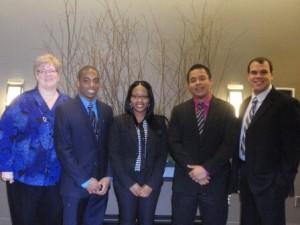 (l-r) Prof. Murphy, student participants Phil Banks Jr., Donnisha Bailey and Kevin Vargas, L&Q Board member Sammuy Delgado.