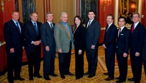 DePaul's Finest, con't: The 2010-11 L&Q Executive Committee, including (l-r) Paul Peterson, Bill Razzino, Director Kevin Stevens, Jim Robbs, President Jenny Ciszewski, Matt Mraz, Past President Ed Fellin, Paul Wong and Mike Whelan--providing DePaul students with over $250,000 in scholarships . . . annually.