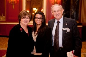 Roberta and Howard Goss with 2011 Goss Scholarship recipient Evelyn Banos. Since 1994, the Goss Fund in the School has assisted close to 30 students through DePaul.