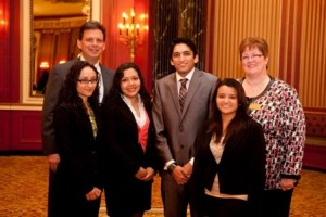 Past President Terry Kenney (l) and MAHA Faculty Moderator Prof. Elizabeth Murphy (r) with DePaul's champion MAHA team of Jasmina Villagomez, Karen Tellez, Jahangir Khandwala and Evelyn Banos. The School's Team MAHA took first place in the 2011 national KPMG-ALPFA Student Case Competition.