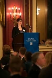 L&Q scholarship recipient senior Samantha Jackson thanks the membership