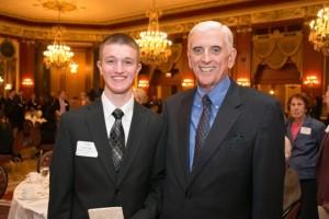 new freshman and Goss Scholarship awardee Tyler Amadeo with past president and Lifetime Associate Larry Sullivan.