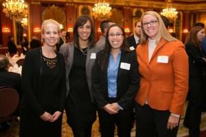 L&Q members and scholarship alumni Andrea Kunkel, Allison Kezerle, Board member Zoe (Soo Hoo) Huitink, and Abby Arndt.
