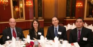 Executive Committee member Bill Razzino (standing, second from left).  Board member Joe Gatto with Wafa and Reyad Shalabi and Pechanio scholarship recipient Ruben Zavala.