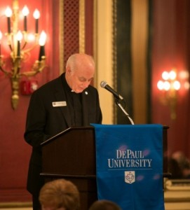 DePaul Vice Chancellor Rev. Charles Shelby delivers the invocation.