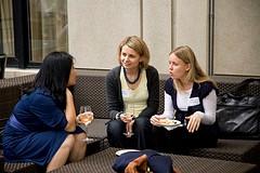 L&Q Board Faculty Representative Hui Lin with alums Joanna Drabowska and Martina Zarubina