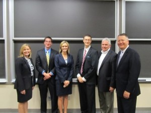 Team Accounting Club flanked by 2012 Lang Contest judges Nicole Valosek (l) and Jim Robbs and Scott Steffens (r).