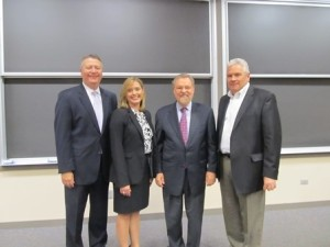 """The Lang"" 2012: (l-r) Judges Scott Steffens (Grant Thornton) and Nicole Valosek (Deloitte), Prof. Needles, and judge Jim Robbs (Sassetti LLC) , then L&Q president."