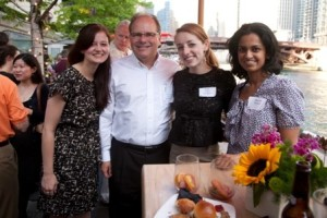 Recent Alums Justyna Kubicki, Holly Fishel and Shereen Olickal with new member (and proud parent) Art Fishel.