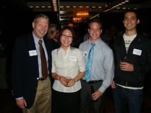 Deloitte Professor John McEnroe with alums Ashley Wade, Kevin Almady and Dan LoPiccolo