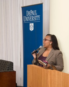 """The Driehaus College of Business hosted a fireside chat Tuesday, Nov. 17, 2015 entitled, """"Business and Business School Diversity"""". The event was part of The PhD Project, and celebrated the Driehaus College of Business' diversity in students and faculty. Several diversity officers with major corporations presented information about diversity in their companies, as well as an open discussion about diversity in the workplace.  (DePaul University/Jamie Moncrief)"""