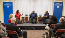 """DePaul alumna and Chicago media personality Lourdes Duarte, left, leads a discussion with diversity experts Gregory Jones of United Airlines, center, and Patricia Sowell Harris of McDonald's in the DePaul Center. The Driehaus College of Business hosted a fireside chat Tuesday, Nov. 17, 2015, entitled """"Business and Business School Diversity"""". The event was part of The PhD Project and celebrated the Driehaus College of Business' diversity of students and faculty. Several diversity officers with major corporations presented information about diversity in their companies, as well as an open discussion about diversity in the workplace. (DePaul University/Jamie Moncrief)"""