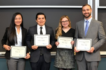 A group from Accounting Instructor Patti Smith's class–Devan Eager, Zhenya Qi, Patrick Baldys and Anthony Sanchez–took top honors